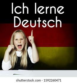 Thinking child girl student against the Germany flag background. Deutsch concept with inscription learn Deutsch on Deutsch language