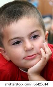 thinking child portrait