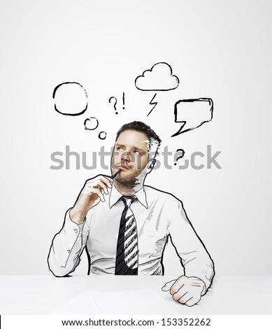 thinking drawing man sitting on table stock photo edit now Praying and Thinking thinking drawing man sitting on table with cloud