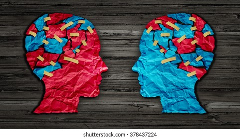 Thinking exchange and idea partnership business communication concept as a red and blue human head cut from crumpled paper as a symbol for understanding political opinions or cultural differences.