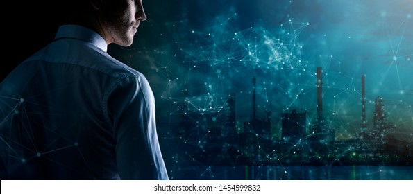 thinking focus caucasian Successful businessman  with beard close up wear formal dark background with polygon virtual abstract connecting line creativity futuristic abstract concept