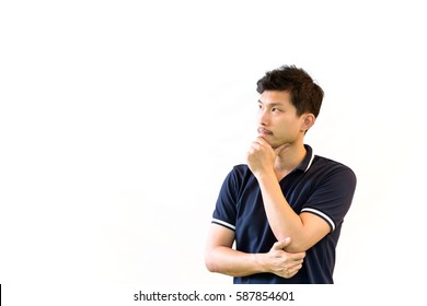 Thinking and imagination concept : portrait of a handsome young asian man standing - cross arm and prop up  isolated on white with copy space.