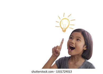Thinking little Asian girl  on white background. Idea concept. Copy space for text.