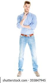 Thinking man full length isolated on white background