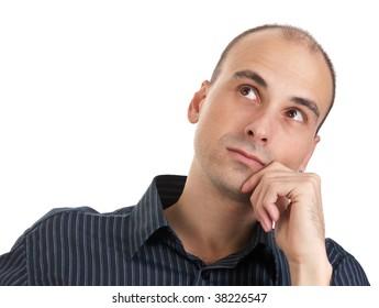 Thinking man isolated on white
