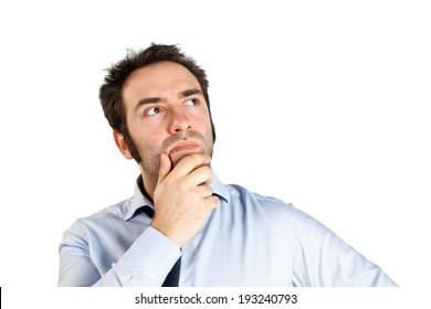 Thinking man on white background