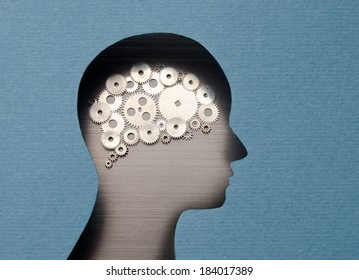 Thinking Mechanism. Human head with brain shaped with gears