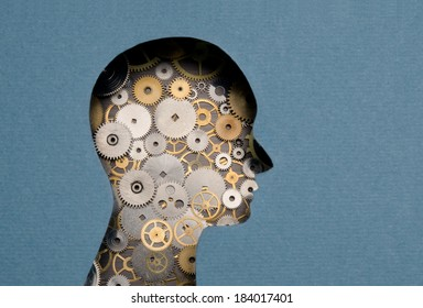 Thinking Mechanism. Human head with gears inside