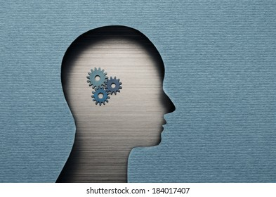 Thinking Mechanism. Human head with gears inside