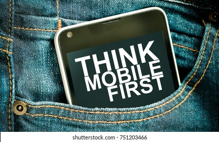 thinking mobile first / smartphone word thinking mobile first