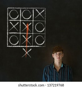 Thinking out of the box businessman, student or teacher tic tac toe on blackboard background