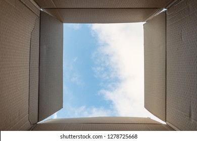 Thinking out of box or freedom concept. Creativity or thinking outside the box. Implies inspirational thoughts, bright new ideas, imagination and escaping from the norm.