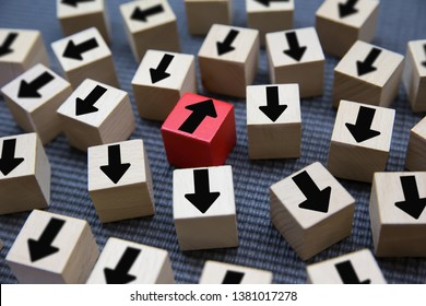 Thinking outside the box,Change to success concept Block .