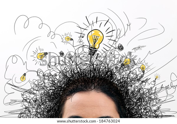 Thinking people with question signs and light idea bulb above