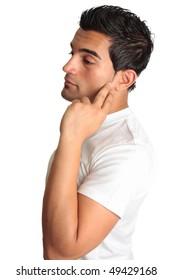 Thinking pondering pensive man looking very melancholy.