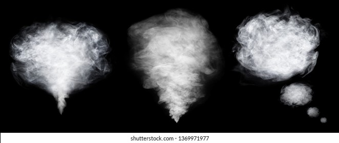 Thinking smoke and clouds set isolated on black background. Sign of thinking mind. White cloudiness, mist or smog background.