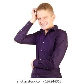 thinking teenage boy isolated on a white background