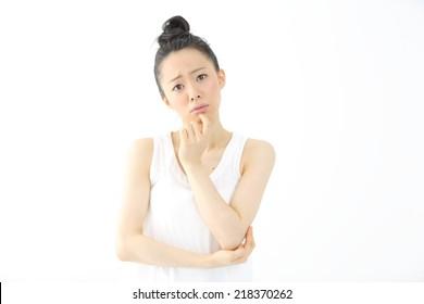 thinking woman isolated on white background