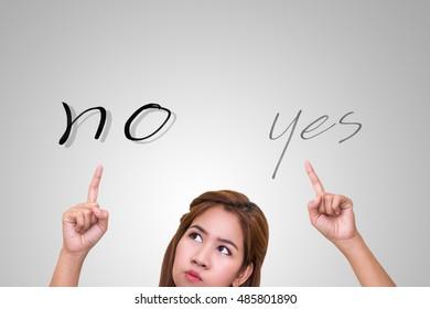 """Thinking woman look at """"No"""" answer."""