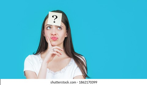 Thinking woman with question mark. Doubtful girl asking questions to himself. Paper notes with question marks.