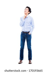 Thinking young Asian man isolated on white background.