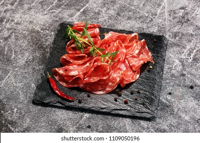 thinly sliced salami . delicious snack rustic salami.