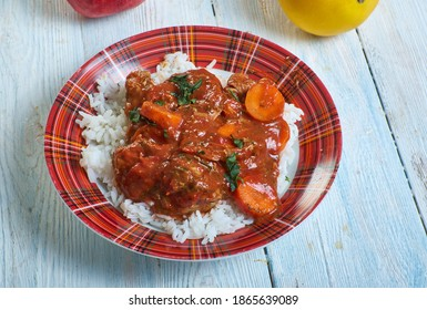 Thiou a la viande traditional Senegalese dish that is typically served over white rice