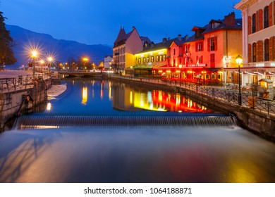 Thiou river during morning blue hour in old city of Annecy, Venice of the Alps, France