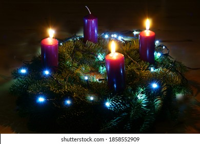 Third Advent, Advent wreath with three burning candles, copy space