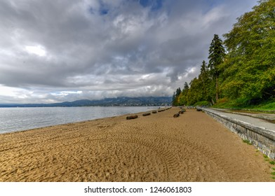 Third beach along Stanley Park in Vancouver, Canada. View of the North Shore.