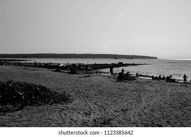 Third Beach at Stanley Park in Vancouver, British Columbiab black and white photograph of the well known landmark