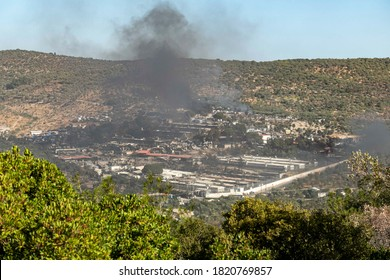 Third day of fire in Moria Refugee camp on Lesbos Island in Greece displacing 13000 asylum seeker. The largest refugee camp in Europe completely burned down. September 10, 2020 - Moria, Lesvos, Greece