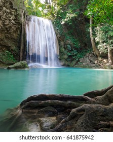 third level of Erawan Waterfall in Erawan national park in Kanchanaburi, Thailand : one of the most famous place for holidays and relaxing