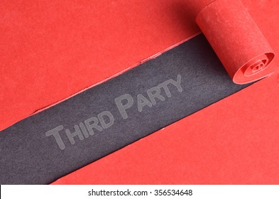 Third Party word on top of blackboard and torn red paper