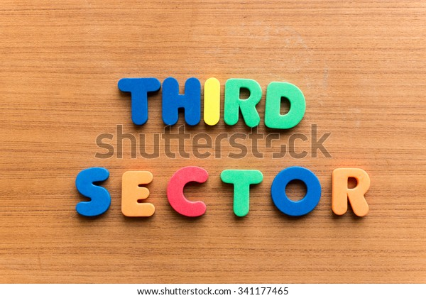 third sector colorful word on the wooden background