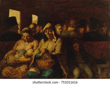 THE THIRD-CLASS CARRIAGE, by Honore Daumier, 1862-64, French painting, oil on canvas. This is a classic realist image of third-class railway travelers. The politically rebellious artist, Daumier, hono