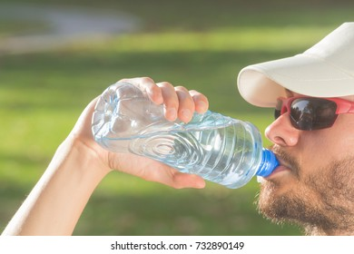 Thirsty after hard exercise in the nature.