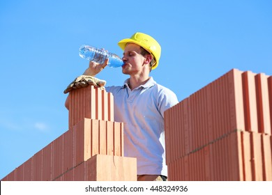 thirsty construction worker