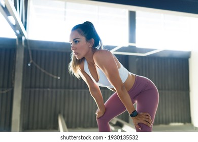 Thirsty latin woman resting after a HIIT training and cardio routine at the gym. Fit woman sweating because of a strong workout