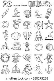 thirty doodle icons illustration WATER sea horse fish swimming sun diver boat sand toys surf board octopus