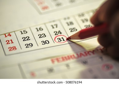 Thirty First Date of month marked in calendar