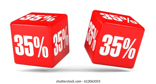 Thirty five percent off. Discount 35 %. 3D illustration on white background. Red cubes.