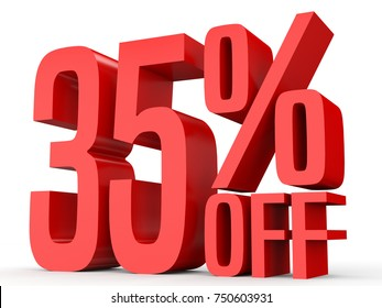 Thirty five percent off. Discount 35 %. 3D illustration on white background.