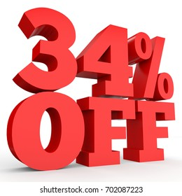 Thirty four percent off. Discount 34 . 3D illustration on white background.