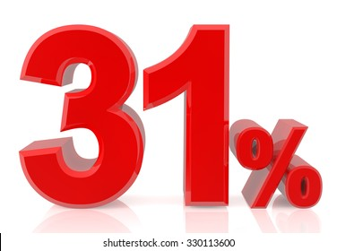 thirty one percent red 3d rendering