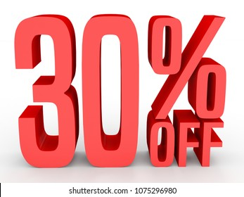 Thirty percent off. Discount 30 %. 3D illustration on white background.