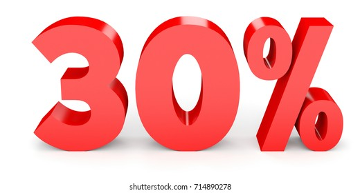 Thirty percent off. Discount 30 . 3D illustration on white background.