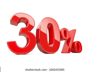Thirty red percent symbol. 30% percentage rate. Special offer discount. 3d illustration isolated over white background.