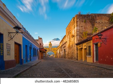 "A thirty seconds exposure of the historic center of Antigua at sunrise, Guatemala. Translation text left: ""textura"" = texture; ""cuida tu planeta"" = Take care of your planet."