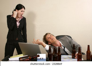 Thirty something office man drunk and secretary yelling at him.
